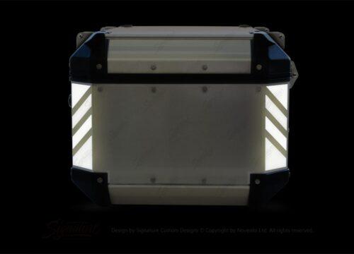 GISTI 3072 Givi Trekker Outback Top Box 42lt 58lt Black White Reflective Stripes Stickers Kit 02