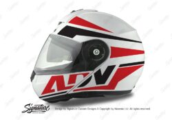 HEL 3074 Schuberth C3 Pro Helmet White Silver Vivo ADV Red Black Stickers Kit 01
