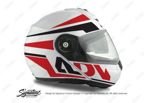 HEL 3074 Schuberth C3 Pro Helmet White Silver Vivo ADV Red Black Stickers Kit 02
