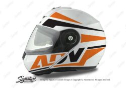 HEL 3075 Schuberth C3 Pro Helmet White Silver Vivo ADV Orange Black Stickers Kit 01
