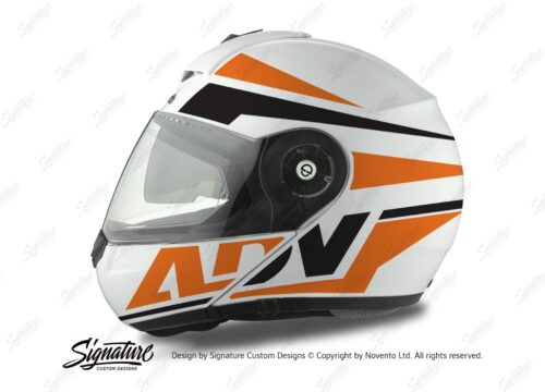 HEL 3075 Schuberth C3 Pro Helmet White Silver Vivo ADV Orange Black Stickers Kit 01