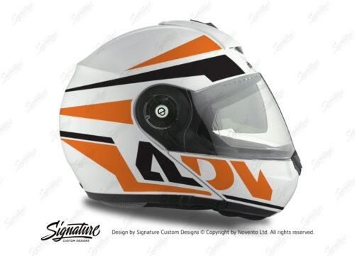 HEL 3075 Schuberth C3 Pro Helmet White Silver Vivo ADV Orange Black Stickers Kit 02