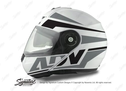 HEL 3076 Schuberth C3 Pro Helmet White Silver Vivo ADV Grey Black Stickers Kit 01