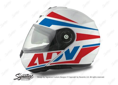 HEL 3077 Schuberth C3 Pro Helmet White Silver Vivo ADV Red Blue Stickers Kit 01