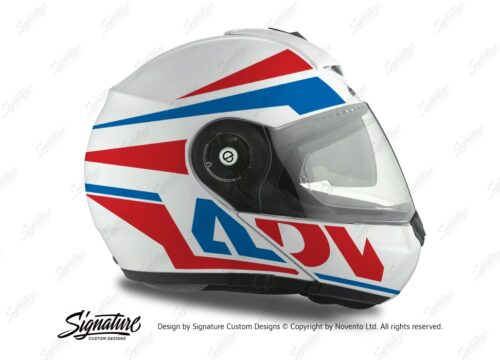 HEL 3077 Schuberth C3 Pro Helmet White Silver Vivo ADV Red Blue Stickers Kit 02
