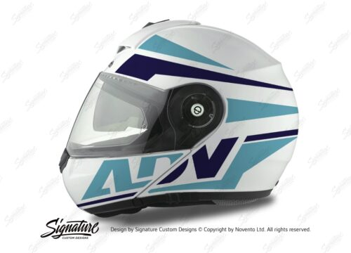 HEL 3078 Schuberth C3 Pro Helmet White Silver Vivo ADV Blue Variations Stickers Kit 01
