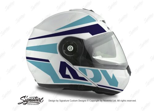 HEL 3078 Schuberth C3 Pro Helmet White Silver Vivo ADV Blue Variations Stickers Kit 02