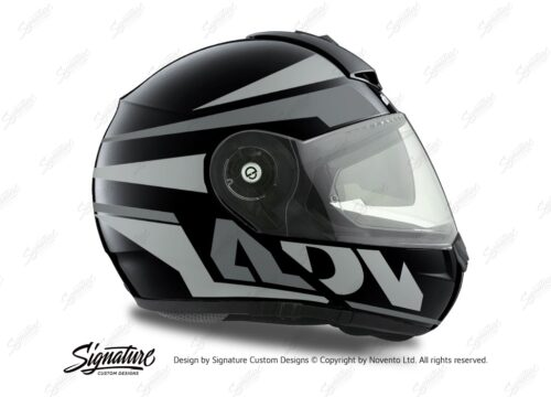HEL 3079 Schuberth C3 Pro Helmet Black Anthracite Vivo ADV Grey Variations Stickers Kit 02