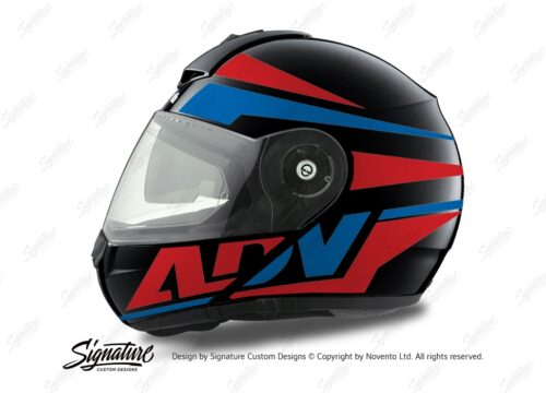 HEL 3080 Schuberth C3 Pro Helmet Black Anthracite Vivo ADV Red Blue Stickers Kit 01