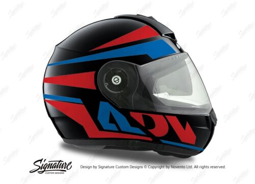 HEL 3080 Schuberth C3 Pro Helmet Black Anthracite Vivo ADV Red Blue Stickers Kit 02