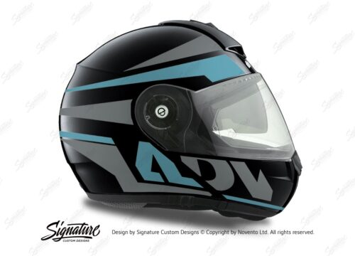 HEL 3081 Schuberth C3 Pro Helmet Black Anthracite Vivo ADV Light Blue Grey Stickers Kit 02