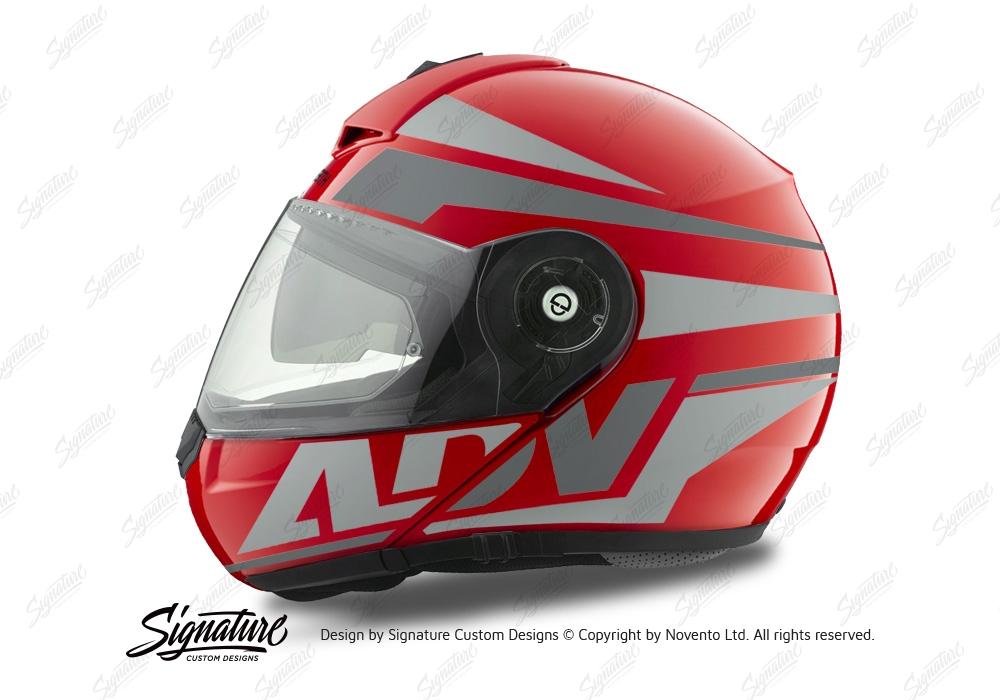 HEL 3082 Schuberth C3 Pro Helmet Red Gloss Vivo ADV Grey Variations Stickers Kit 01