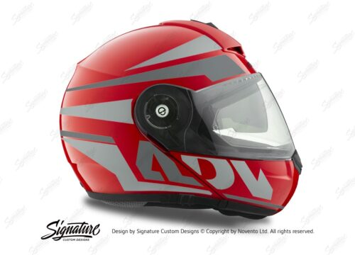HEL 3082 Schuberth C3 Pro Helmet Red Gloss Vivo ADV Grey Variations Stickers Kit 02
