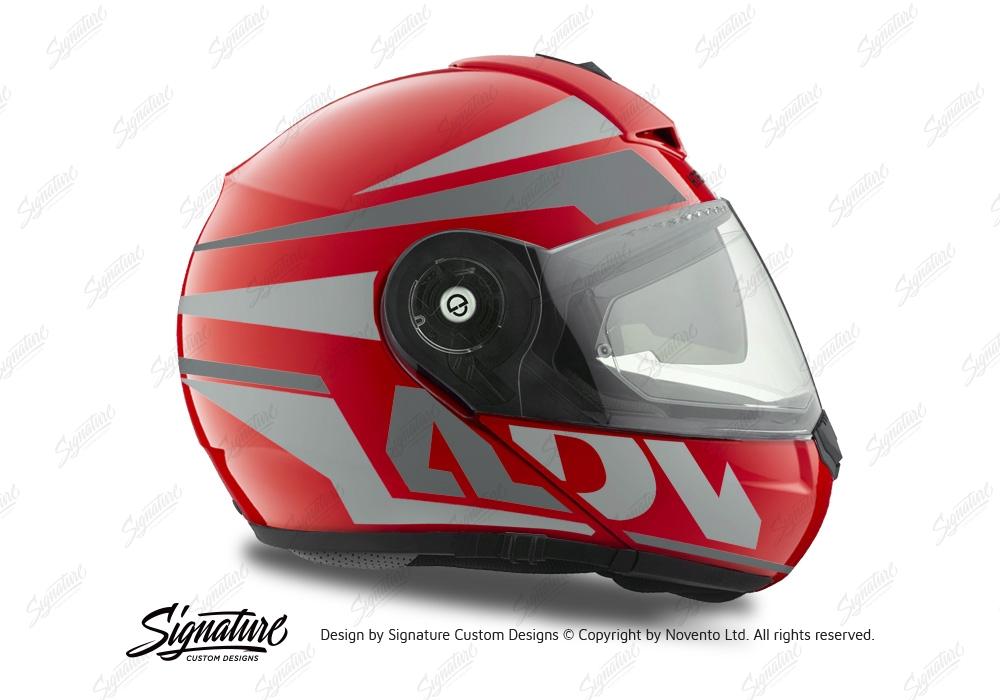 HEL 3082 Schuberth C3 Pro Helmet Red Gloss Vivo ADV Grey Variations Stickers Kit 02