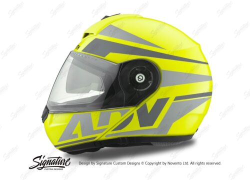 HEL 3083 Schuberth C3 Pro Helmet Fluo Yellow Vivo ADV Grey Variations Stickers Kit 01