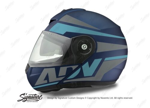 HEL 3084 Schuberth C3 Pro Helmet Blue Matte Vivo ADV Light Blue Grey Stickers Kit 01