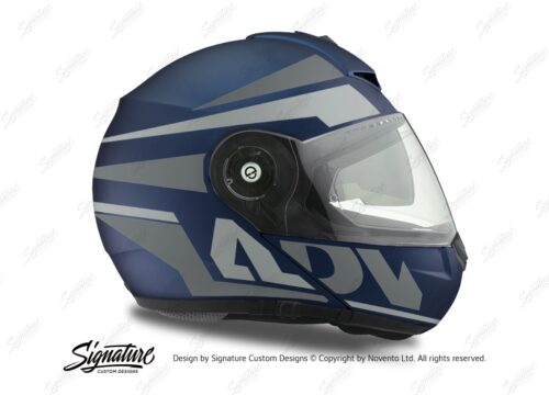 HEL 3085 Schuberth C3 Pro Helmet Blue Matte Vivo ADV Grey Variations Stickers Kit 02