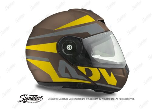 HEL 3086 Schuberth C3 Pro Helmet Metal Matte Vivo ADV Yellow Grey Stickers Kit 02