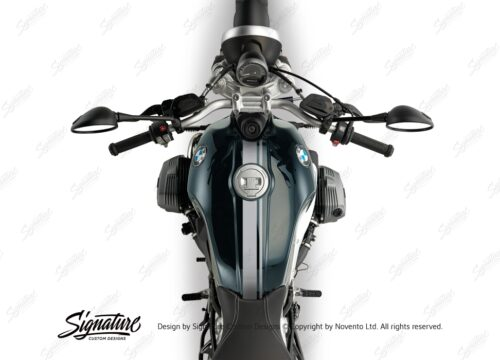 BKIT 3158 BMW RnineT Pure Top Tank Double Line Stickers Kit Silver Brushed 02