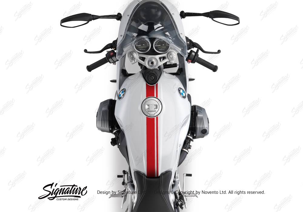 BKIT 3160 BMW RnineT Racer Top Tank Double Line Stickers Kit Red 02