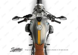 BKIT 3162 BMW RnineT Scrambler Top Tank Double Line Stickers Kit Saffron Yellow 02
