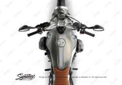 BKIT 3163 BMW RnineT Scrambler Top Tank Triple Line Stickers Kit Silver 02