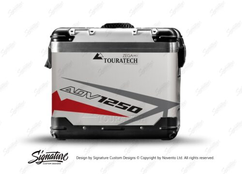 TSTI 3198 Touratech Zega Pro Aluminium Panniers Spike Series Grey Red Stickers Kit ADV1250
