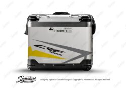 TSTI 3200 Touratech Zega Pro Aluminium Panniers Spike Series Grey Yellow Stickers Kit CRF1000L