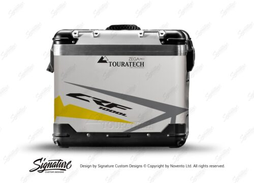 TSTI 3200 Touratech Zega Pro Aluminium Panniers Spike Series Grey Yellow Stickers Kit CRF1000L