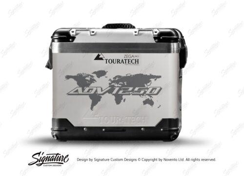 TSTI 3212 Touratech Zega Pro Aluminium Panniers The Globe Series Grey Stickers Kit ADV1250
