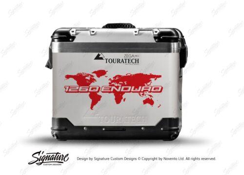 TSTI 3213 Touratech Zega Pro Aluminium Panniers The Globe Series Red Stickers Kit 1260ENDURO