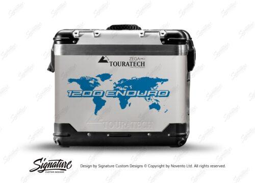 TSTI 3214 Touratech Zega Pro Aluminium Panniers The Globe Series Blue Stickers Kit 1200ENDURO