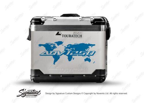 TSTI 3214 Touratech Zega Pro Aluminium Panniers The Globe Series Blue Stickers Kit ADV1250