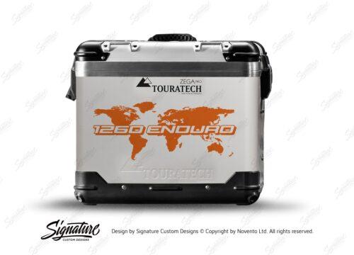 TSTI 3215 Touratech Zega Pro Aluminium Panniers The Globe Series Orange Stickers Kit 1260ENDURO