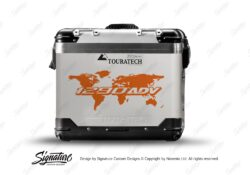 Touratech Zega Pro Side Panniers The Globe Orange Stickers Kit