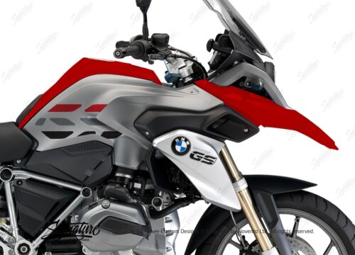BSTI 3225 BMW R1200GS LC 2013 2016 Racing Red GS Lines Tank Stickers Red Silver 02
