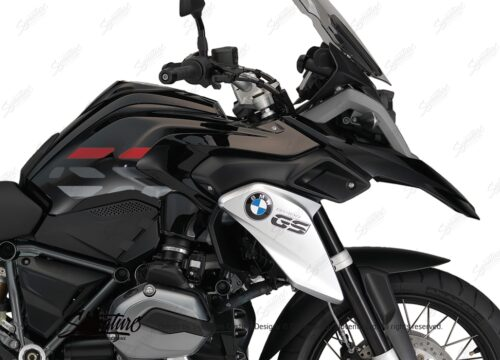 BSTI 3227 BMW R1200GS LC 2013 2016 Triple Black GS Lines Tank Stickers Red Silver 02