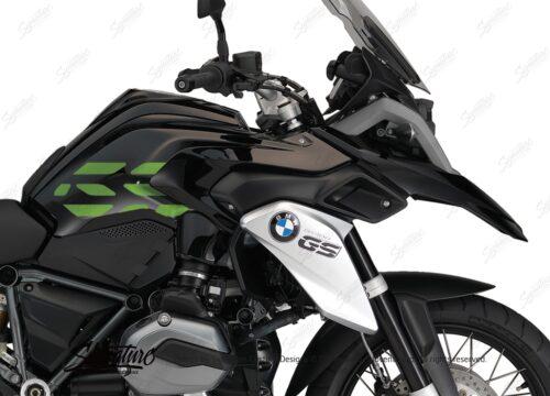 BSTI 3227 BMW R1200GS LC 2013 2016 Triple Black GS Lines Tank Stickers Toxic Green 02