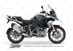 BKIT 3252 BMW R1200GS LC 2017 Alpine White Spike Series Blue Grey Stickers Kit 01