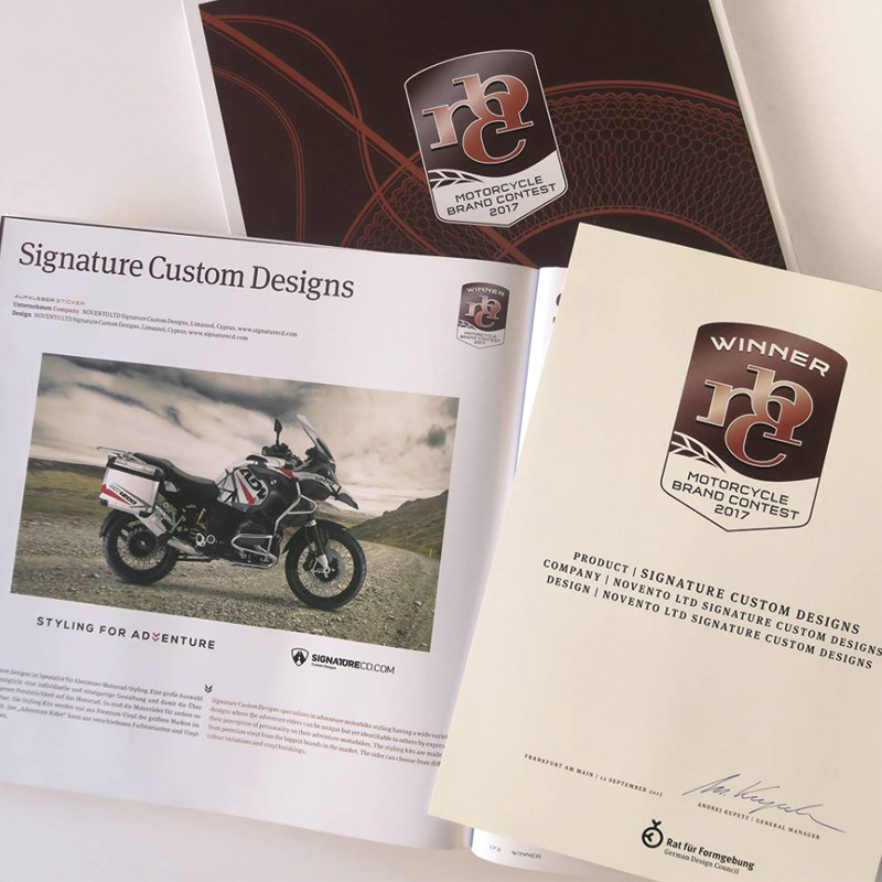 SignatureCD Winner of the 2017 Motorcycle Brand Contest Award