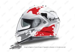 HEL 3262 HJC IS MAX II Helmet White The Globe Series Red Grey Stickers Kit 01