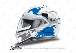 HEL 3263 HJC IS MAX II Helmet White The Globe Series Blue Grey Stickers Kit 01