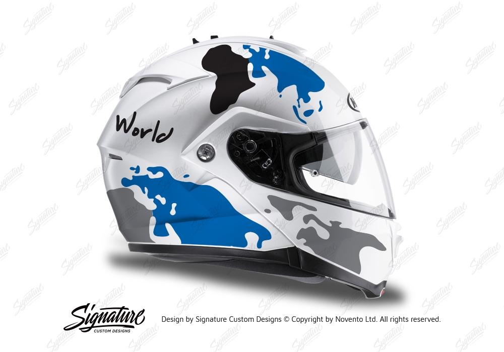 Hjc Is Max Ii Helmet The Globe Series Blue Grey Stickers Kit