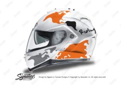 HEL 3264 HJC IS MAX II Helmet White The Globe Series Orange Grey Stickers Kit 01
