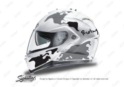 HEL 3265 HJC IS MAX II Helmet White The Globe Series Black Grey Stickers Kit 01