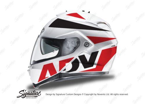 HEL 3267 HJC IS MAX II Helmet White Vivo Series Red Black Stickers Kit 01