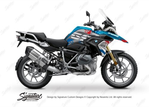 BKIT 3300 BMW R1250GS Cosmic Blue Safari Red Blue Stickers Kit 01