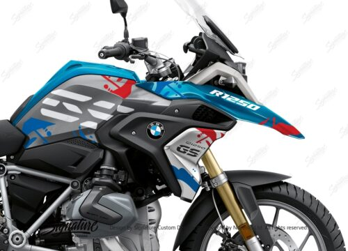BKIT 3300 BMW R1250GS Cosmic Blue Safari Red Blue Stickers Kit 02