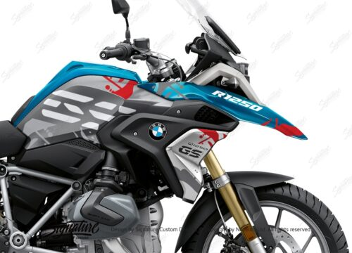 BKIT 3302 BMW R1250GS Cosmic Blue Safari Red Grey Stickers Kit 02