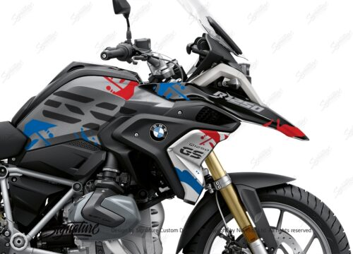 BKIT 3303 BMW R1250GS Black Storm Metallic Safari Red Blue Stickers Kit 02
